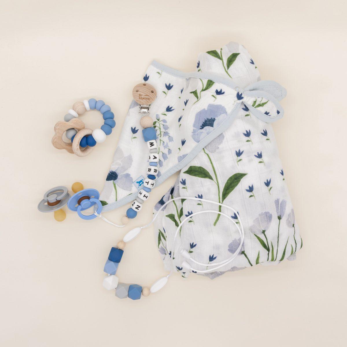 Canastilla bebé Little Unicorn Be Mummy Blue Windflower